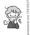 一位因無法停止咳嗽和擠壓而陷入困境的老婦 72619327