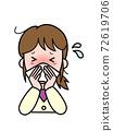 因鼻子不停而陷入麻煩的年輕女子 72619706