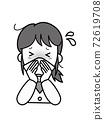 因鼻子不停而陷入麻煩的年輕女子 72619708