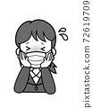 一名年輕的OL女人穿著發燒有麻煩 72619709