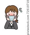 一名年輕的OL女人穿著發燒有麻煩 72619710