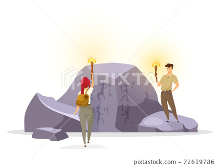 Tourists in cave flat vector illustration. Expedition group observing wall painting on rock. Prehistoric culture. Woman and man with torches discover mural pictures. Explorers cartoon characters 72619786