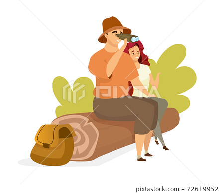 Tourist couple flat color vector illustration. People sitting on tree log. Male backpacker watching through binoculars. Female hiker. Man and woman isolated cartoon character on white background 72619952