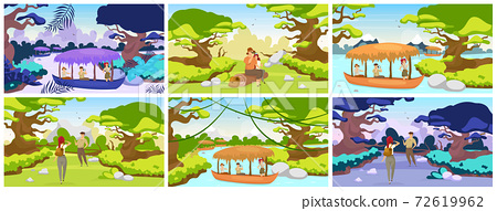 Jungle expedition flat vector illustration. Tourists journey to tropical forest. Couple sitting on log. Trekkers observe panoramic landscape. Group in boat on river. Female and male cartoon characters 72619962