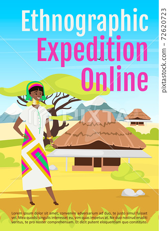 Ethnographic expedition online brochure template. Flyer, booklet, leaflet concept with flat illustration. Vector page cartoon layout for magazine. Exploration advertising invitation with text space 72620723