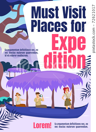 Must visit places for expedition magazine cover template. Journal mockup design. Vector page layout with flat character. Exploration advertising cartoon illustration with text space 72621017