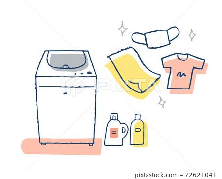 洗衣機,洗滌劑和衣物 72621041