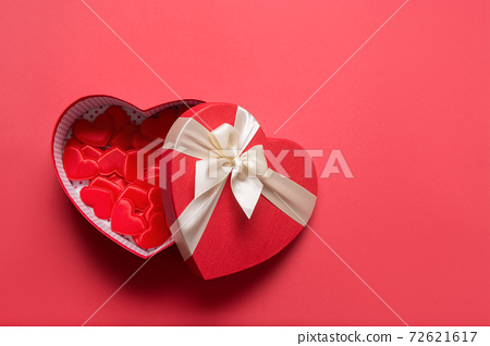 Valentine's Day hearts gift on red. Flat lay.  72621617