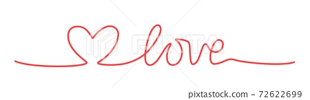 Doodle heart and word LOVE hand written scribble 72622699