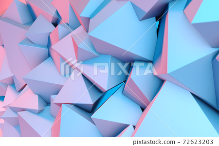 Abstract background with 3D shapes flying in pink and blue light as a messy array or chaotic structure for any pastel backdrop 72623203
