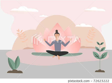 Holistic self therapy Spiritual healing for body and mind with yoga vector illustration Health choices 72623222
