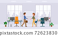 Office cartoon character male and female hands shaking in modern workplace vector illustration set. Man and woman business partners meeting, saying hello in conference room on cityscape silhouette 72623830