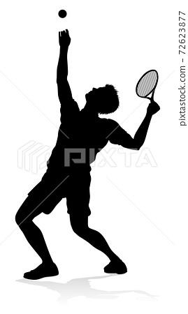Tennis Player Man Sports Person Silhouette 72623877