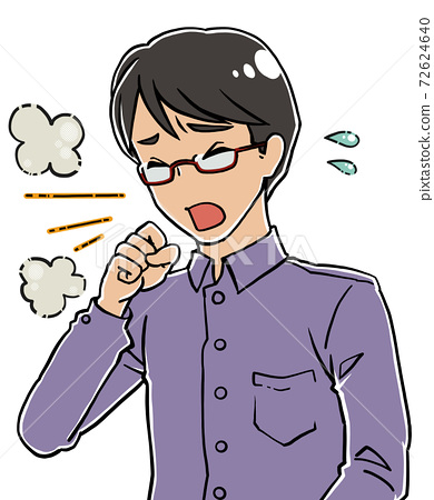 年輕人沒有面具咳嗽Gohogoho出汗 72624640