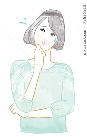 Woman watercolor illustration of thinking pose 72625518