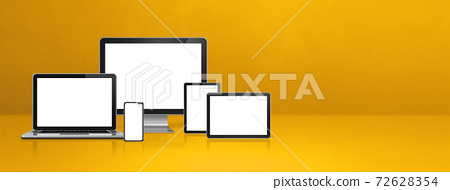 computer, laptop, mobile phone and digital tablet pc. yellow banner 72628354