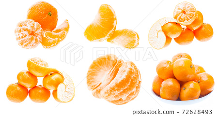 Mandarin Orange Fruits Isolated On White Background. Healthy Food. Mandarins Contain A High Content Of Vitamin C 72628493