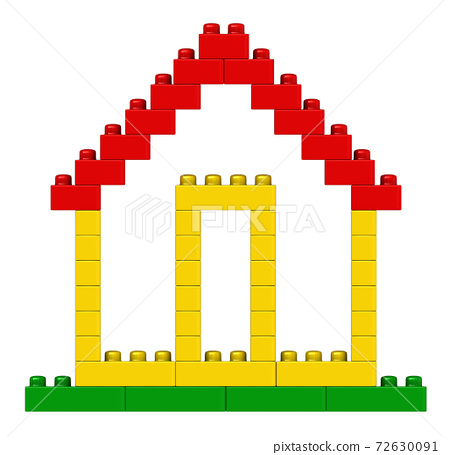 Abstract house from plastic building blocks 72630091