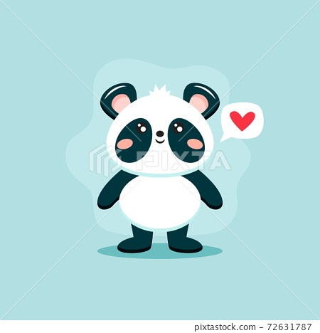 Cute panda character, vector illustration in flat style 72631787