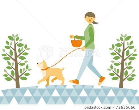一個女人在公園裡a狗 72635660