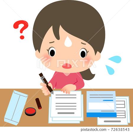 年輕女子在填寫文件時遇到麻煩 72638543