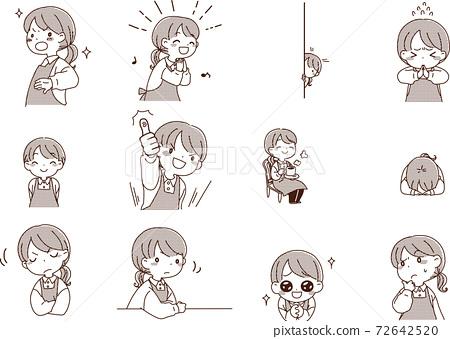 漫畫風格的家庭主婦/幼兒園女教師的面部表情集 72642520