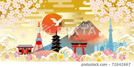 후지산과 벚꽃이있는 일본 (도쿄)의 거리 풍경 72642667
