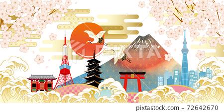 후지산과 벚꽃이있는 일본 (도쿄)의 거리 풍경 72642670