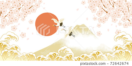 후지산과 벚꽃이있는 일본 (도쿄)의 거리 풍경 72642674