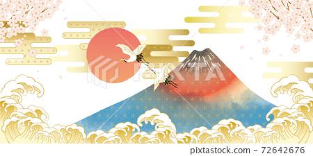 후지산과 벚꽃이있는 일본 (도쿄)의 거리 풍경 72642676