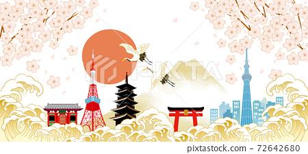 후지산과 벚꽃이있는 일본 (도쿄)의 거리 풍경 72642680