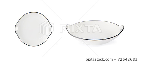 white plate isolated on white background. Top view 72642683