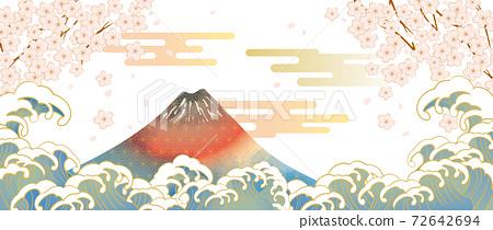 후지산과 벚꽃이있는 일본 (도쿄)의 거리 풍경 72642694