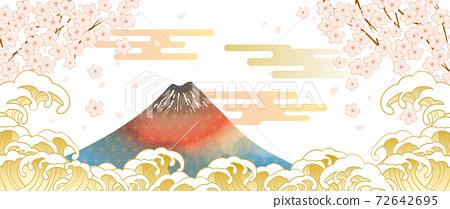 후지산과 벚꽃이있는 일본 (도쿄)의 거리 풍경 72642695