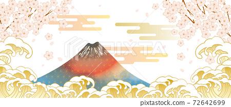 후지산과 벚꽃이있는 일본 (도쿄)의 거리 풍경 72642699