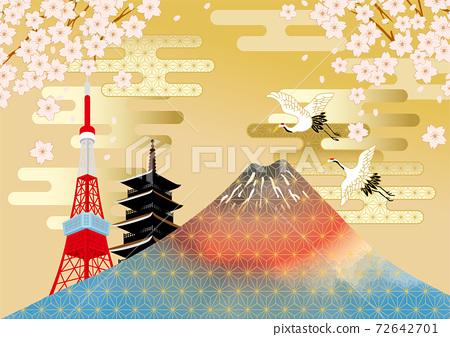 후지산과 벚꽃이있는 일본 (도쿄)의 거리 풍경 72642701