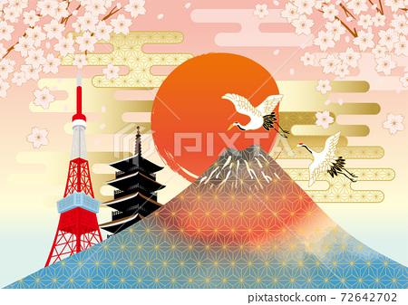 후지산과 벚꽃이있는 일본 (도쿄)의 거리 풍경 72642702