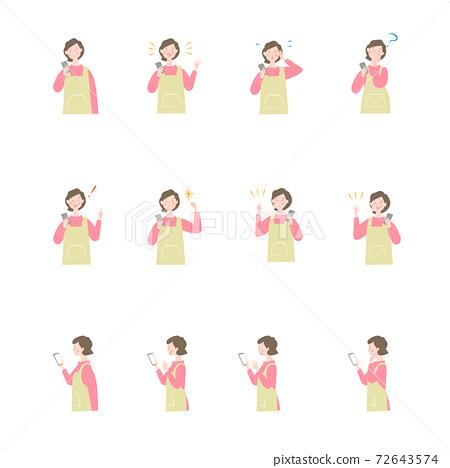 智能手機和女人的姿勢集合 72643574