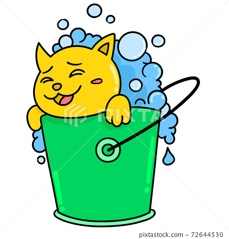 cartoon children bathing in a bucket with soapy lather doodle kawaii. doodle icon image 72644530