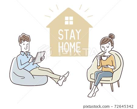 矢量圖材料:上班時間,呆在家裡,情侶在家消費,情侶 72645342