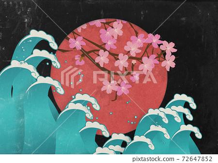 日之丸-櫻花-波浪-日出-日式-日本材料 72647852