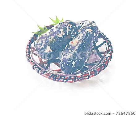 水彩風格的Nuk醃製的Senshu水茄子 72647860