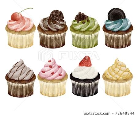 各種類型的紙杯蛋糕水彩風格插圖 72649544