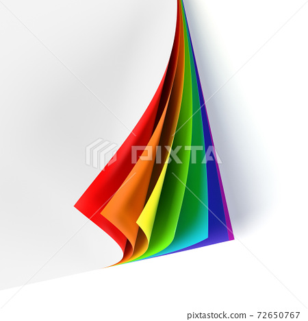 Blank document with rainbow colored curled corner 72650767