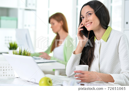 Two young businesswomen working at modern office 72651065