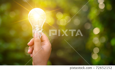 Light bulbs shining on the green grass, renewable energy and nature conservation concepts 72652152