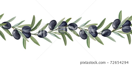 Black olives watercolor seamless ornament 72654294