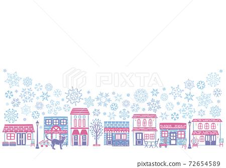 冬季下雪的城市景觀 72654589