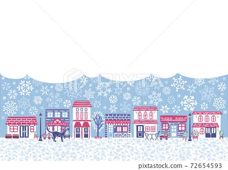 冬季下雪的城市景觀 72654593
