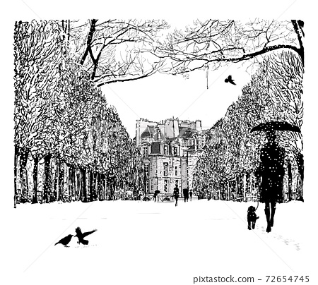 Imaginary cityscape in perspective under snow 72654745